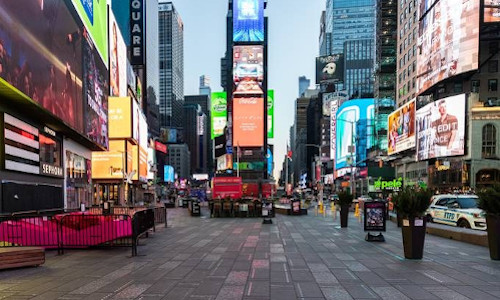 An empty Times Square in Manhattan
